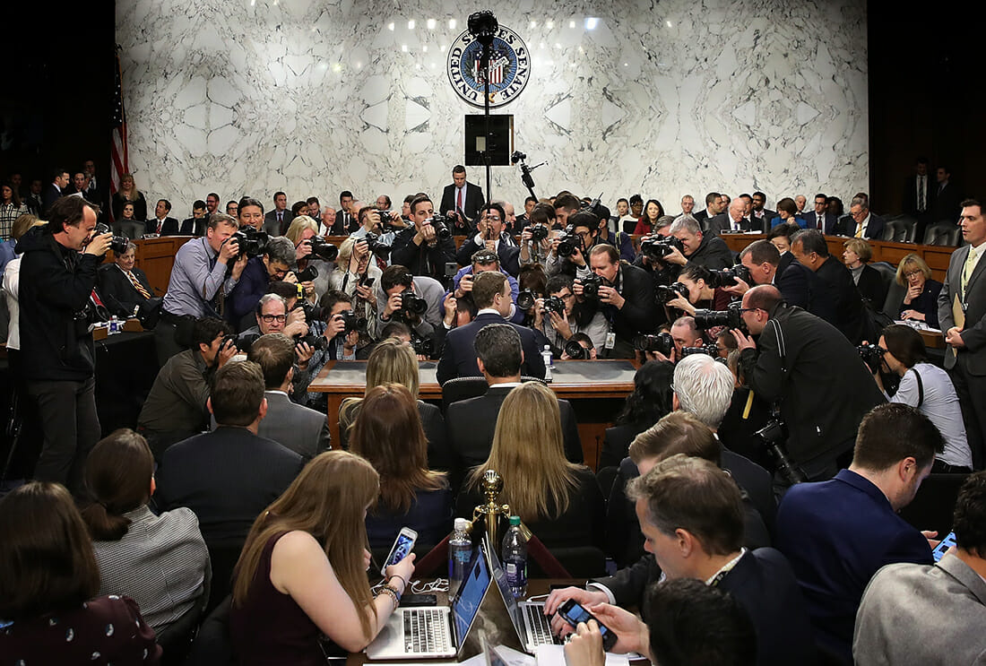 Facebook CEO Mark Zuckerberg Testifies At Joint Senate Commerce committee hearing