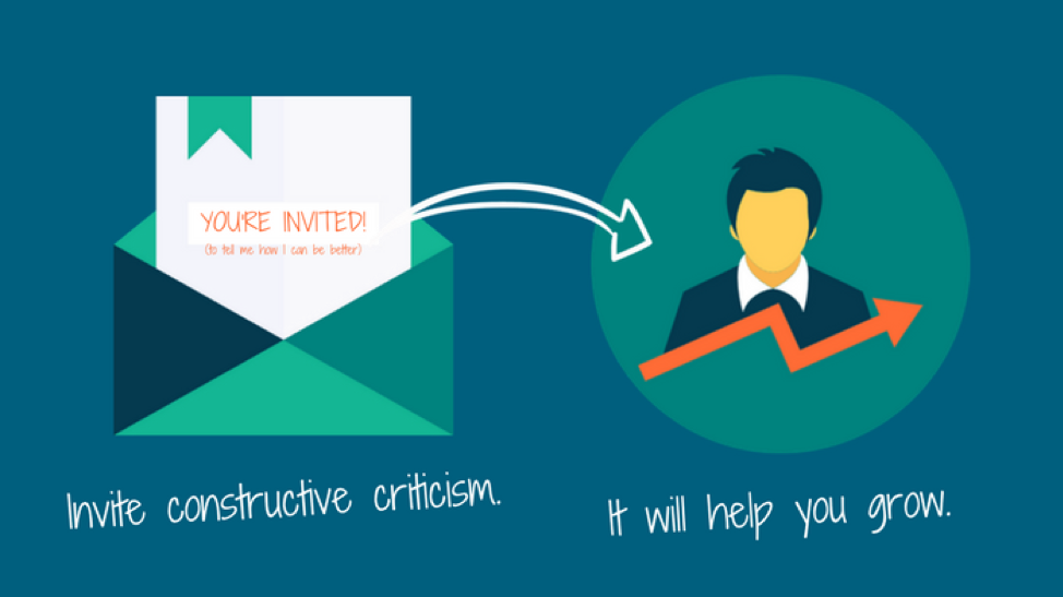 "illustration of an invitation and man with the words ""Invite constructive criticism. It will help you grow."""
